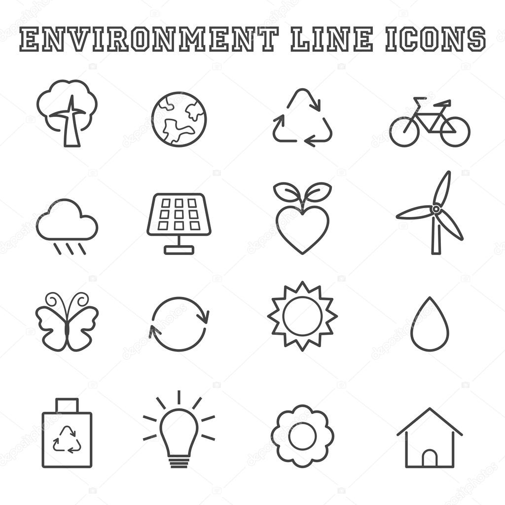 environment line icons