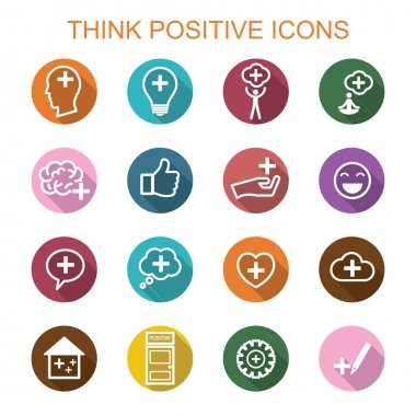 think positive long shadow icons