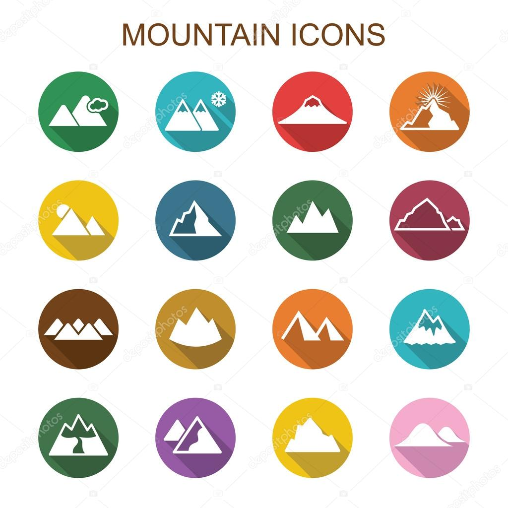 mountain long shadow icons
