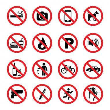set of prohibition sign icons