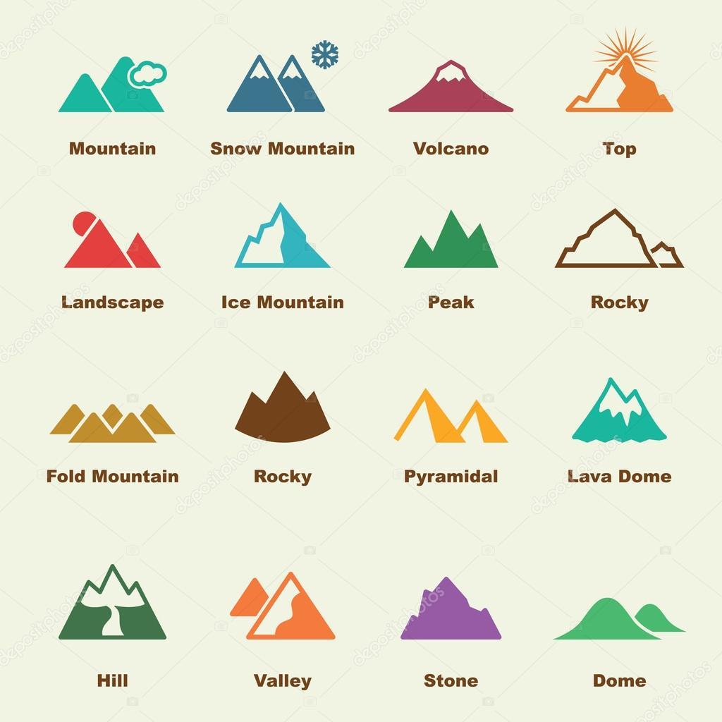 mountain elements icons