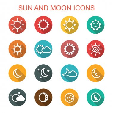 sun and moon long shadow icons