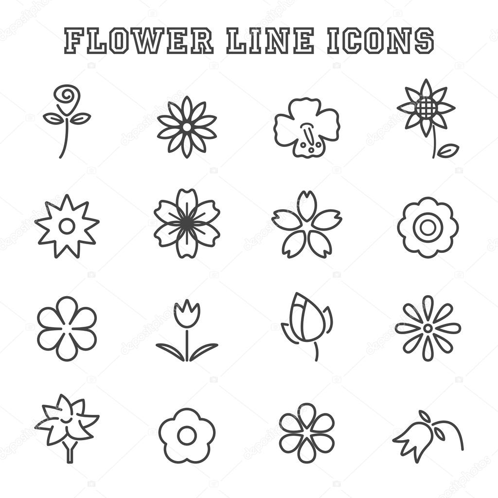 flower line icons