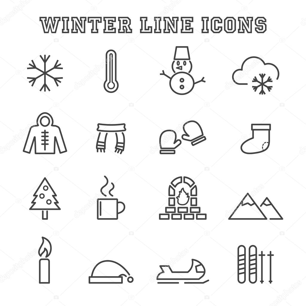 winter line icons