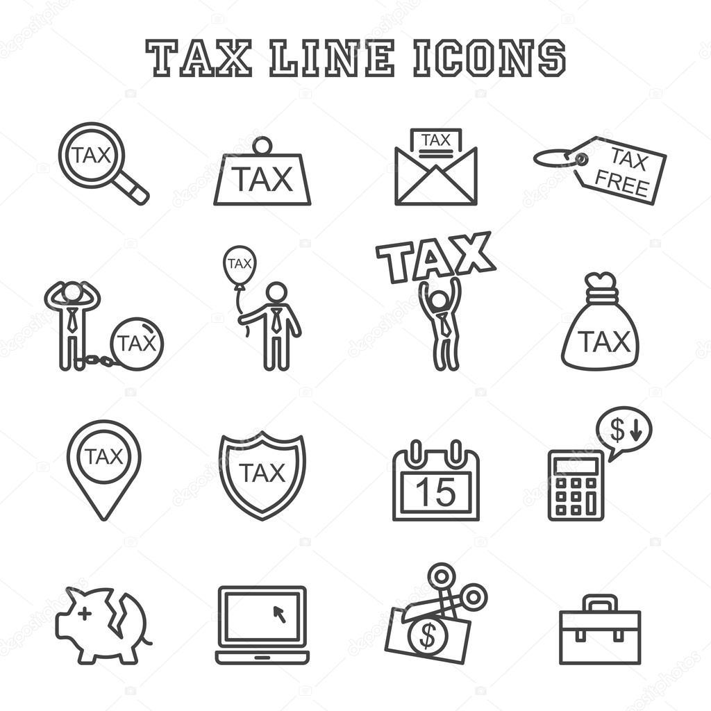 Steuer-Linie-Symbole — Stockvektor © tulpahn #96119790