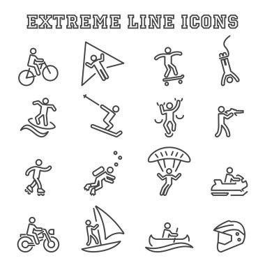 Extreme line icons, mono vector symbols stock vector