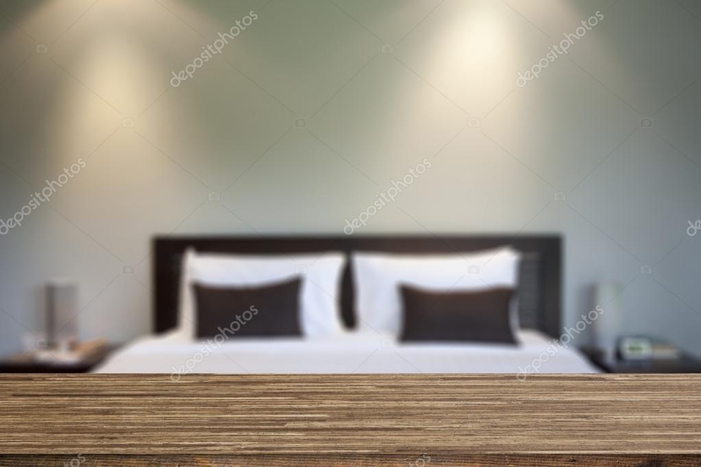Wood desk decoration with bedroom background