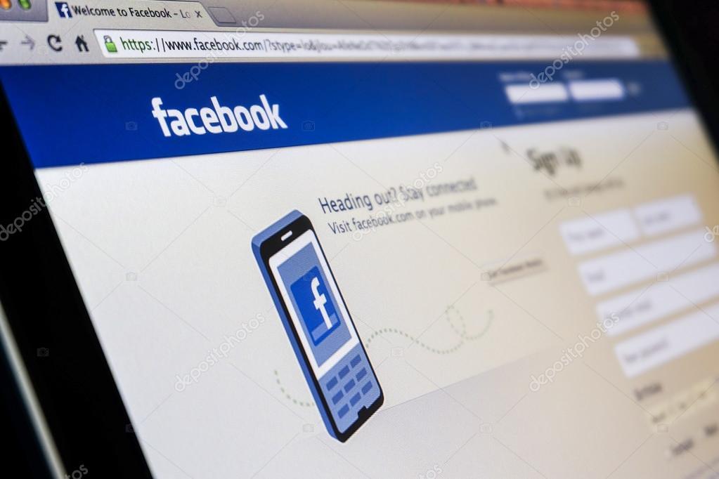 THAILAND - SEPTEMBER 2, 2014: Facebook page first landing homepa