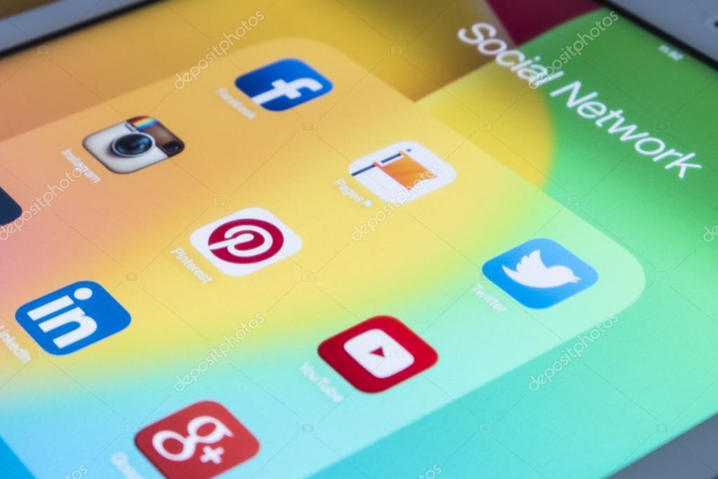THAILAND - SEPTEMBER 03, 2014: All of popular social media icons