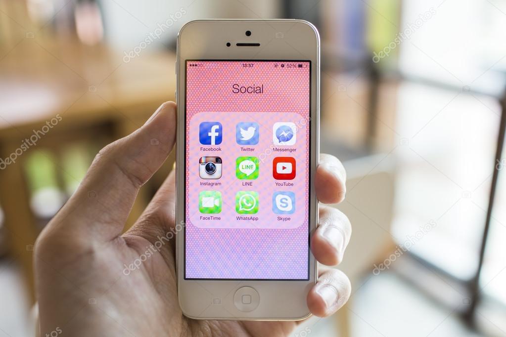 CHIANG MAI, THAILAND - SEPTEMBER 07, 2014: All of popular social