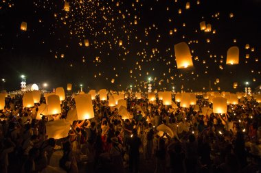 Floating lanterns yeepeng or loi krathong festival at Chiang Mai