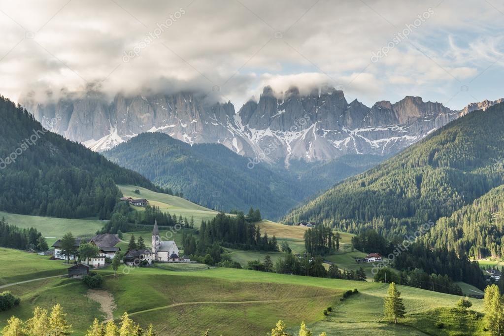 Santa Maddalena village in front of the Geisler or Odle Dolomite