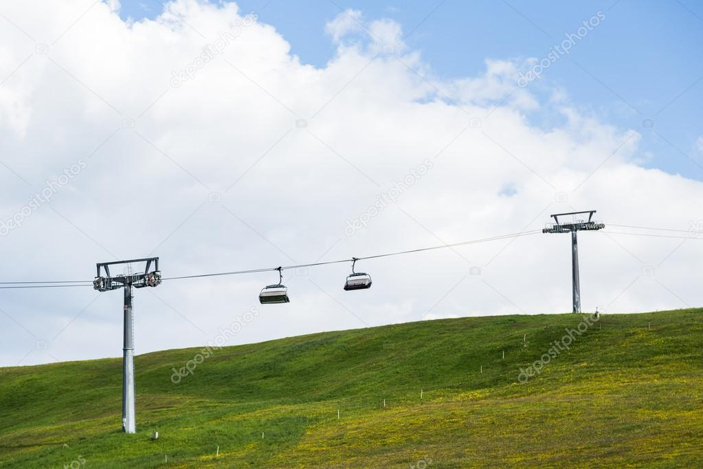 Ropeway of Lankoffel mountain range. View from Seiser Alm, Dolom