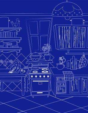 Blue kitchen vintage background