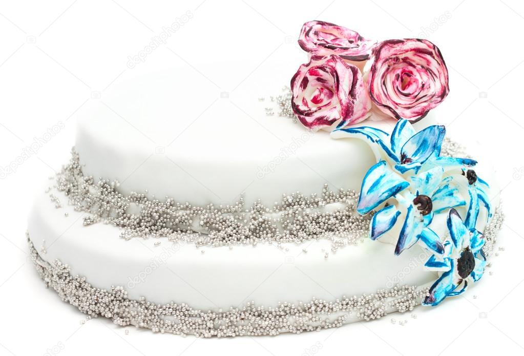 Handgemachte Kuchen Mit Dekoration Von Blumen Stockfoto C Trsteeps