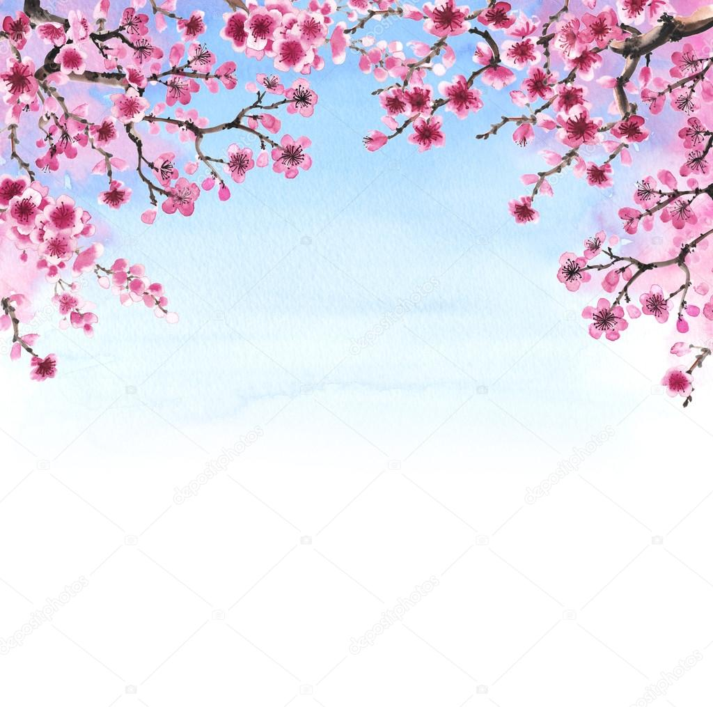 hand-drawn branch of sakura