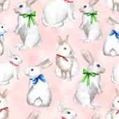 Fényképek fehér nyúl rózsaszín háttér