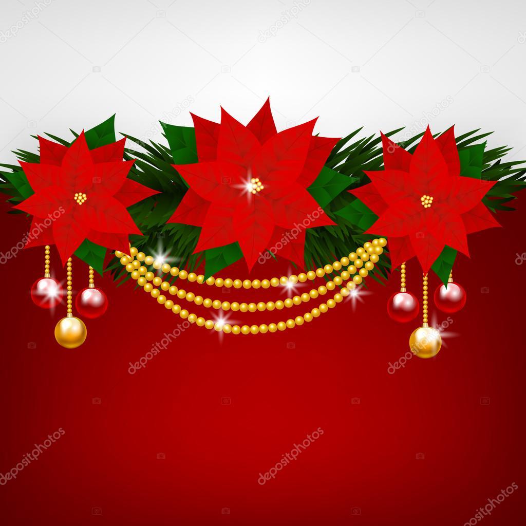 decoraci n de navidad con flores de nochebuena archivo