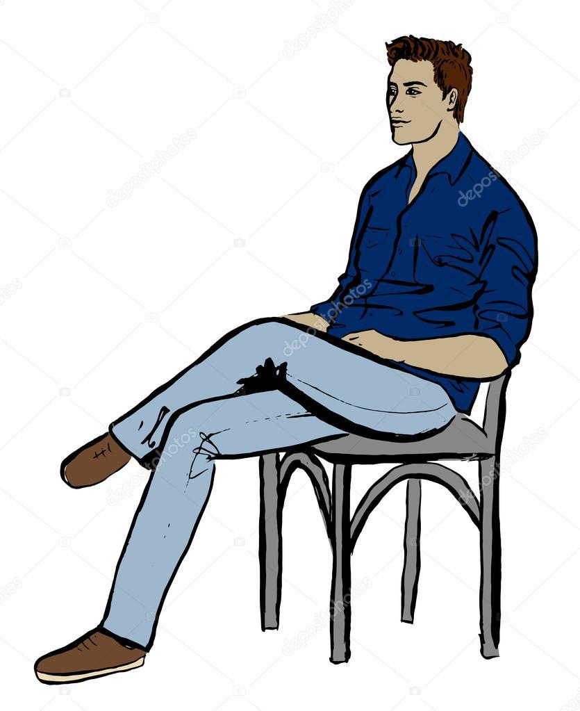 Человек сидящий на стуле картинка
