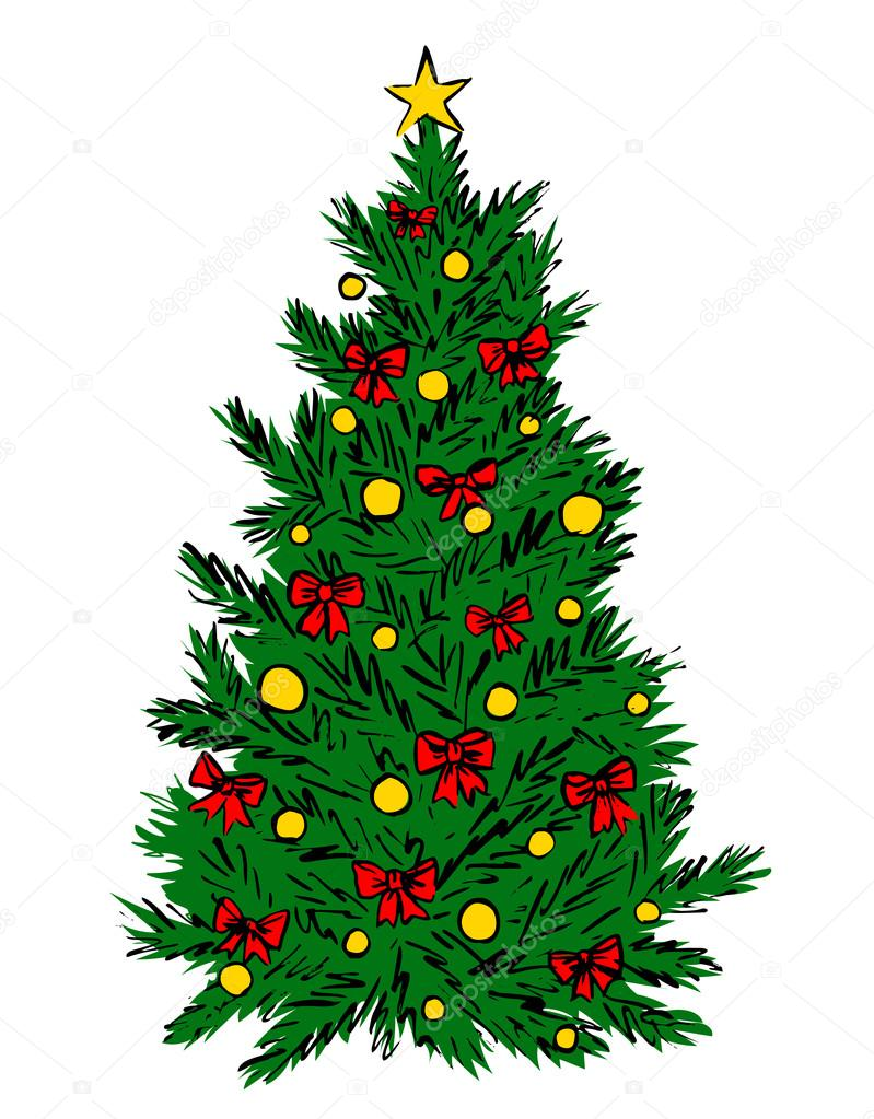 Christmas Tree Sketch Stock Vector C Prikhnenko 92334990