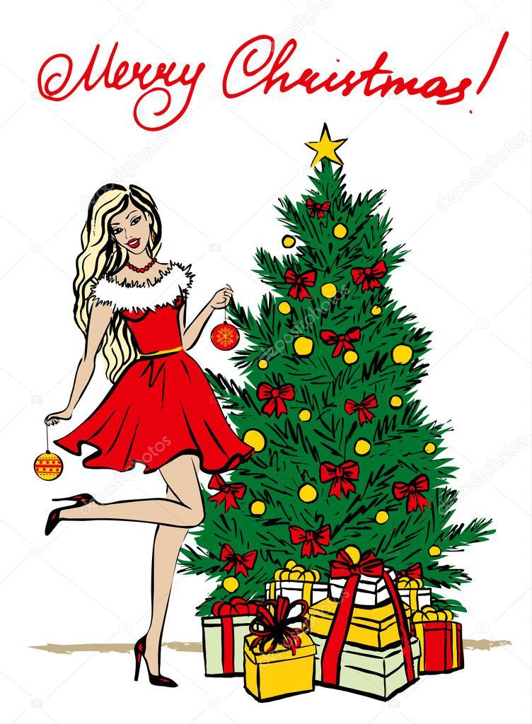 Dibujos Hermosa Ilustración De árbol De Navidad árbol De