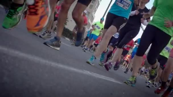 Dutch angle of marathon runners