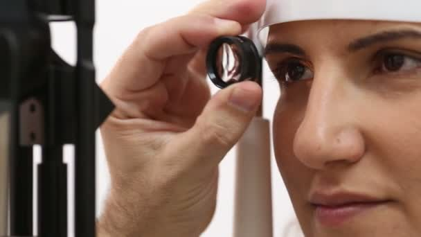 eye care professional during an eye examination