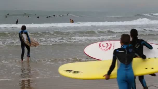 Young surfers entering the sea water