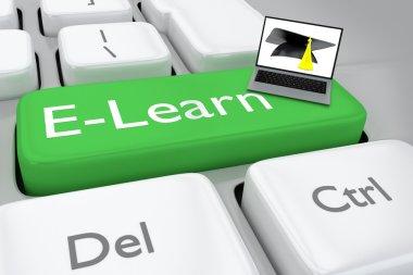 3D render illustration E-learning button