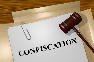 Confiscation concept with legal documents