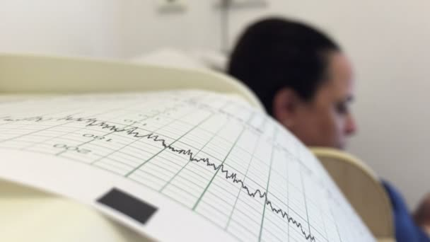 Woman during foetal heart monitor during check