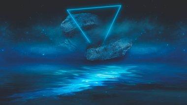 Soyut manzara ve adanın olduğu gelecekteki fantezi gece manzarası, ay ışığı, aydınlık, ay, neon. Suda ışık yansıması olan karanlık doğal bir sahne. Neon uzay galaksisi portalı. 3B illüstrasyon.