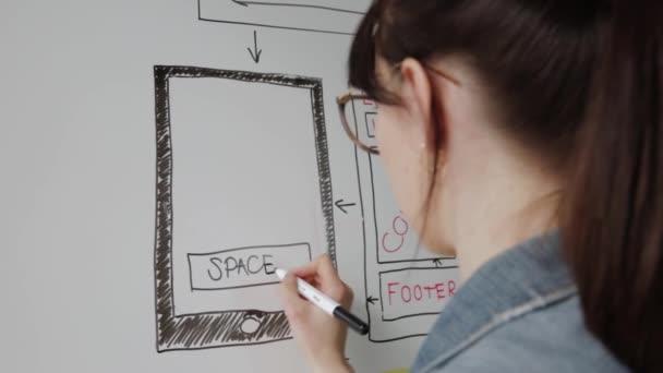 Frauen website designer kreative planung anwendung entwicklung zeichnung vorlage layout rahmen wireframe design studio. User Experience Konzept