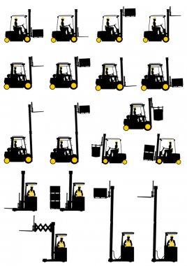 Silhouettes of forklifts