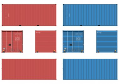 20 feet shipping container in four views. Vector without gradients on one layer. stock vector