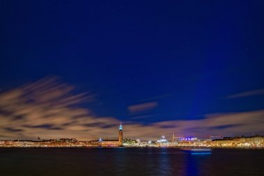 Stockholm during a clear blue night sky with stars