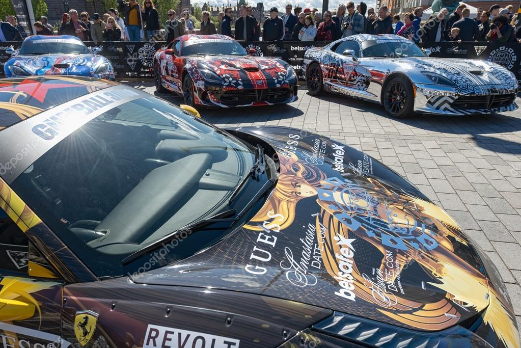 Gumball 3000 cars at display on the streets of Stockholm