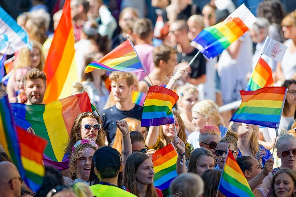 Rainbow flags at the Pride parade in Stockholm