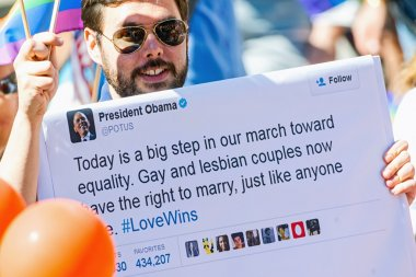 Man with president Barack Obamas tweet regarding equal rights
