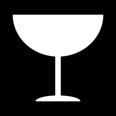 Fragile flat icon isolated on black background. Fragile package symbol. Label vector illustration . icon