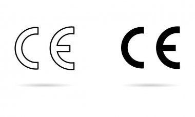 CE mark symbol for conformite europeenne, clean label product, information shadow vector illustration sign . icon