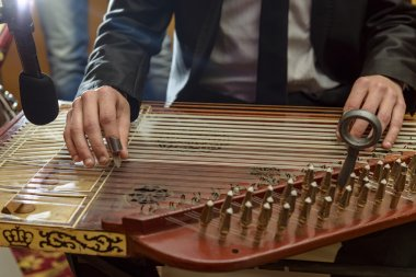 Male Hands Playing Arabian Qanon Musical Instrument