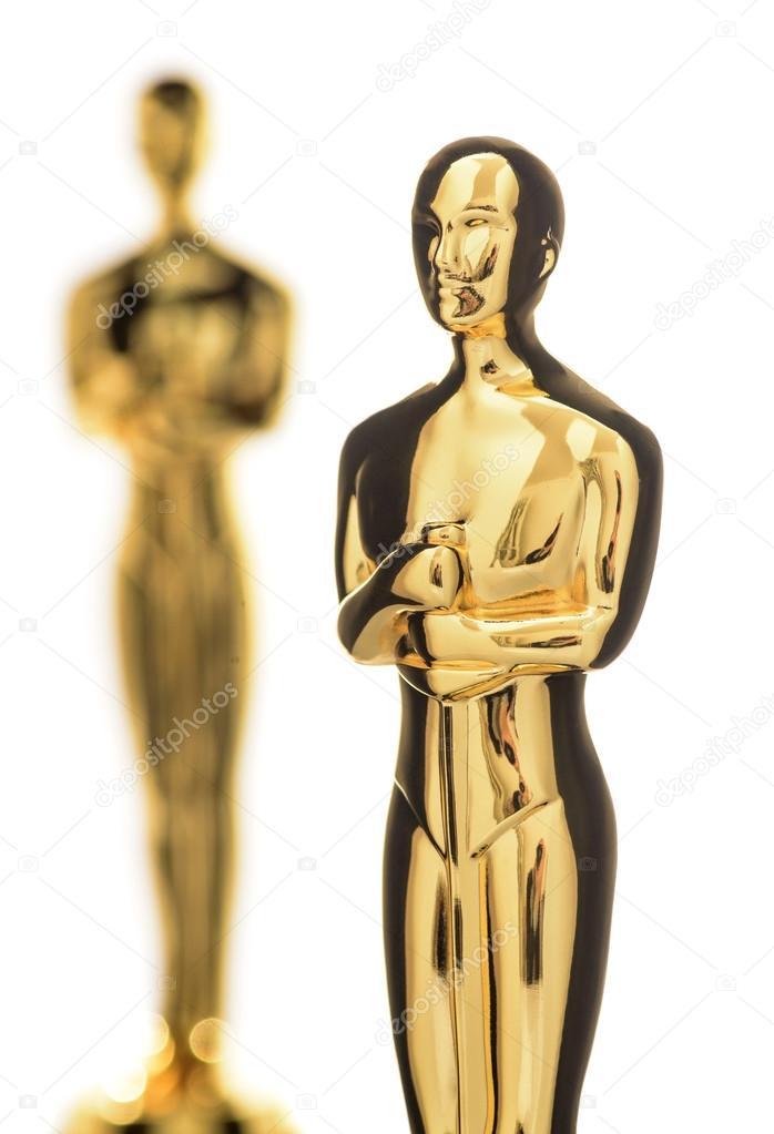Isolated Golden Statuette Closeup