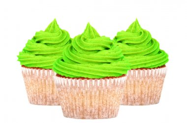 Three cupcakes with green icing