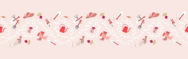 Gardening, garden tools seamless border pattern  Hand drawing cute garden equipment icons background. Watering can, beetroot, hat, rubber boots, hand gloves, fresh foods, seeds pack, leaves icon