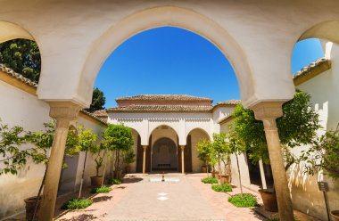 Courtyard garden in Alcazaba Palace, Malaga, Andalusia, Spain.