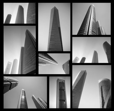 Collage of modern business center in black and white. Abstract Business concept. High resolution file.