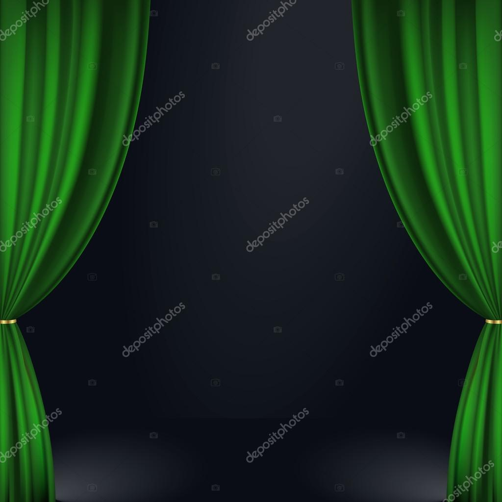 Green Stage Curtains - Vector illustration of a green stage curtain eps 10 contains transparency vector by coline