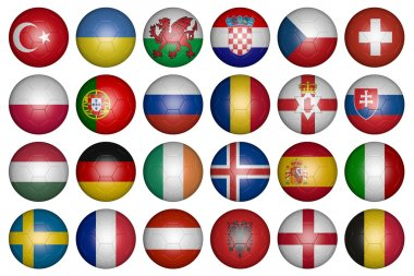 balls with flags of the countries of Europe