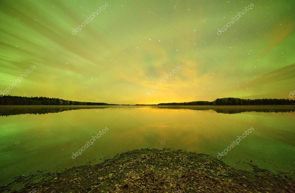 Northern lights HDR landscape
